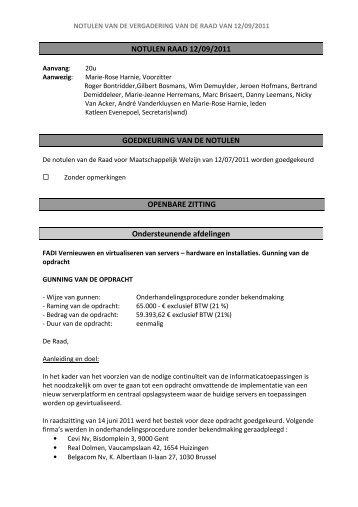 NOTULEN RAAD 12/09/2011 GOEDKEURING VAN ... - OCMW Halle