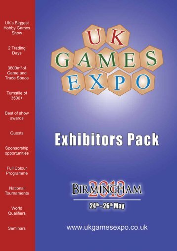 Exhibitor Pack for 2013 - UK Games Expo