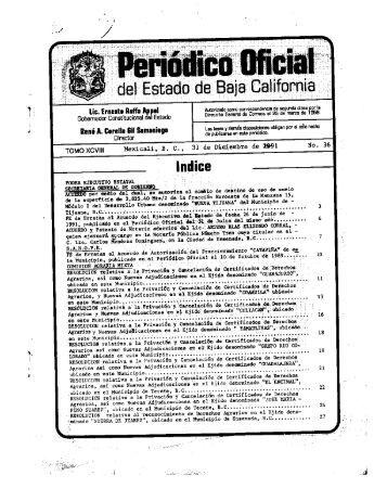 Indice - Gobierno del Estado de Baja California