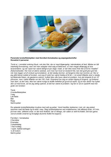 Panerede torskefiletstykker med fennikel-/tomatsalsa og ...