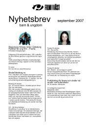 Nyhetsbrev september 2007 - Film i Väst