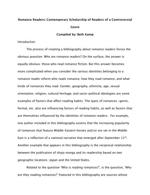 Romance Readers Annotated Bibliography - Smart Bitches, Trashy