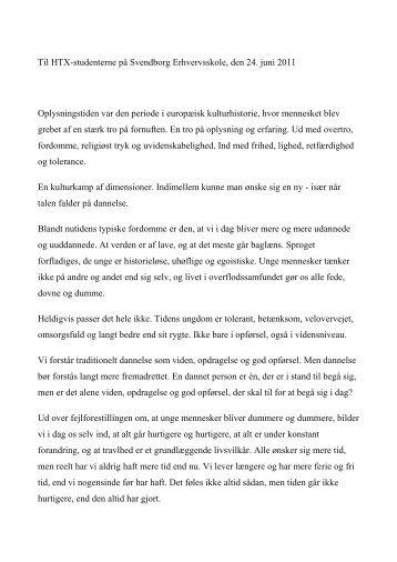 Se talen i dets fulde længde - Svendborg Erhvervsskole