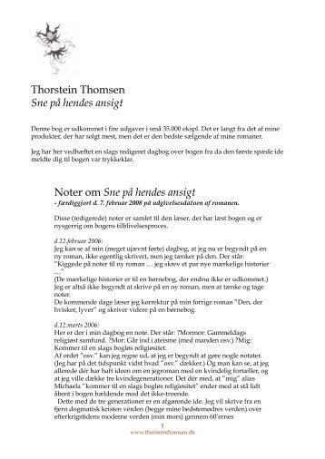 Thorstein Thomsen Sne på hendes ansigt Noter om Sne på hendes ...