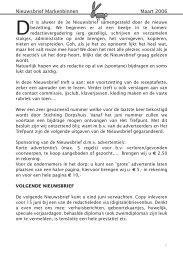 Nieuwsbrief Markenbinnen Maart 2006