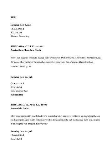 JULI Søndag den 7. juli (6.s.e.trin.) KL. 10.00 ... - Ribe Domkirke