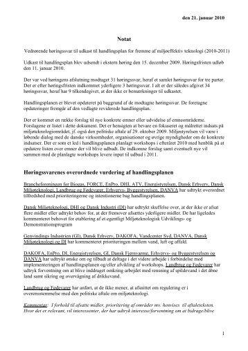Læs høringsnotat - Ecoinnovation.dk