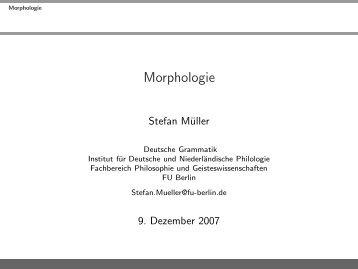 Morphologie - German Grammar Group FU Berlin