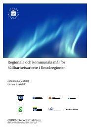 Regionala och kommunala mål för hållbarhetsarbete i Umeåregionen