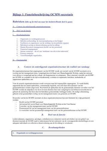 Bijlage 1: Functiebeschrijving OCMW-secretaris - Gemeente ...