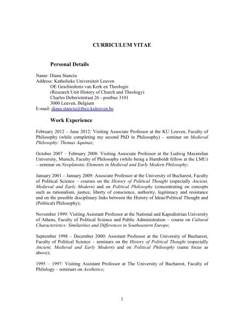 Curriculum Vitae Personal Details Work Experience