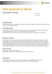 PRO Synthetic C 5W-40 - Statoil Fuel & Retail