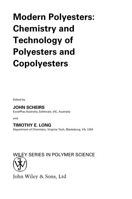 Front Matter In Modern Polyesters Chemistry And Technology Of