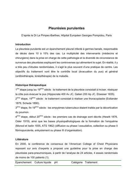 Pleurésies purulentes - spif.info