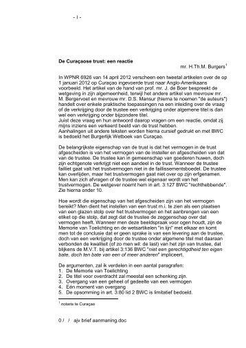 De Curacaose trust, een reactie_by mr. H.Th.M. Burgers - Dutch ...