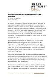 Interview i forbindelse med Søren Kierkegaards ... - Nikolaj Kunsthal