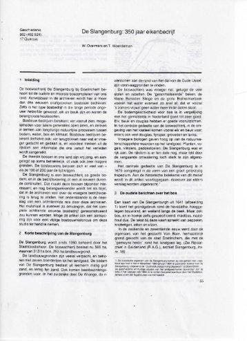 1984 - De Slangenburg: 350 jaar eikenbedrijf - De Warande