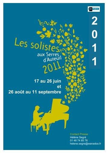 17 au 26 juin et 26 août au 11 septembre - Solistes aux Serres d ...