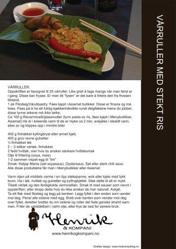 VÅRRULLER MED STEKT RIS - Restaurant Henrik & Kompani
