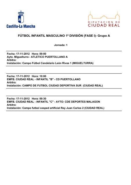 Calendario Futbol Primera Division.Calendario Infantil A Primera Division Pagina Oficial Del Cdb Fb