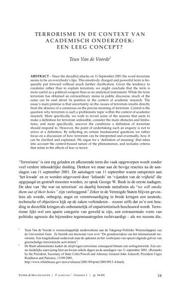 terrorisme in de context van academisch onderzoek - Ethiek en ...