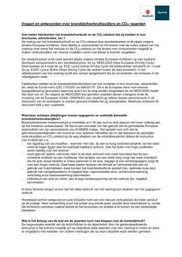 Vragen en antwoorden over brandstofverbruikscijfers en CO2 - Suzuki