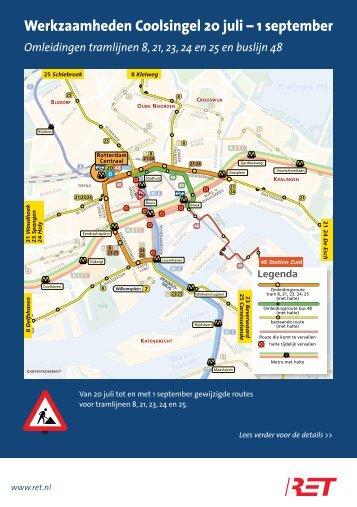 Folder werkzaamheden tramsporen Coolsingel - RET