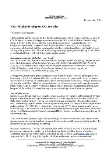 Vedr. direktivforslag om CO2 fra biler - Det Økologiske Råd