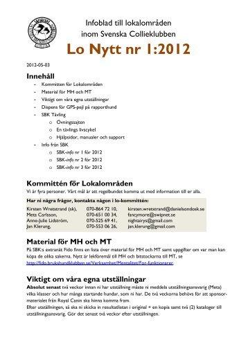 Lo Nytt nr 1:2012 - Svenska Collieklubben