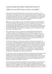 """""""MKZ-crisis maart 2001: Feiten en emoties, een terugblik"""". - NMV"""