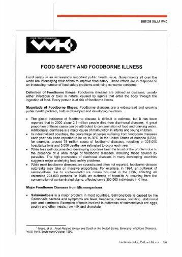 FOOD SAFETY AND FOODBORNE ILLNESS