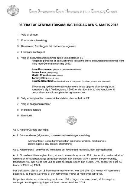 referat af generalforsamling tirsdag den 5. marts 2013 - Esrum ...