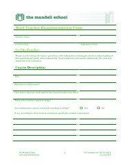 Math Teacher Recommendation Form - The Mandell School