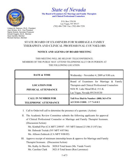 State Of Nevada State Board Of Examiners For Marriage And Family