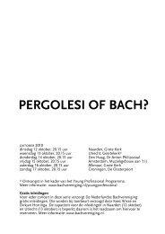 PERGOLESI OF BACH? - Nederlandse Bachvereniging