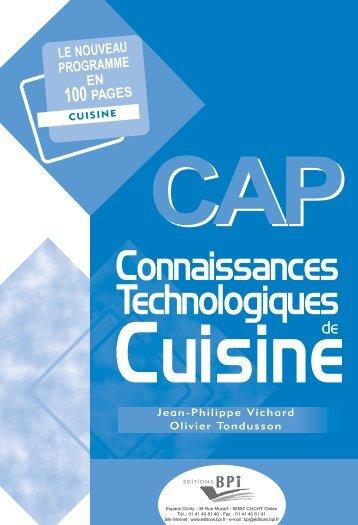 CAP Connaissances technologiques de cuisine en PDF - Editions BPI