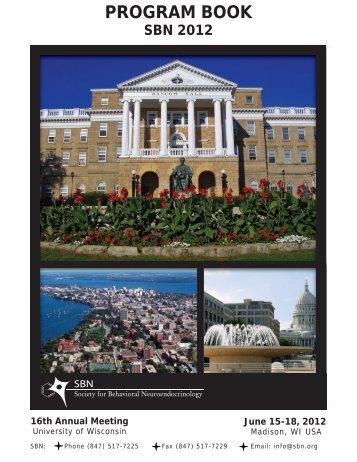 PROGRAM BOOK - Society for Behavioral Neuroendocrinology