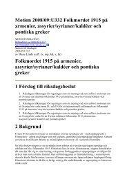 Motion 2008/09:U332 Folkmordet 1915 på armenier, assyrier ...