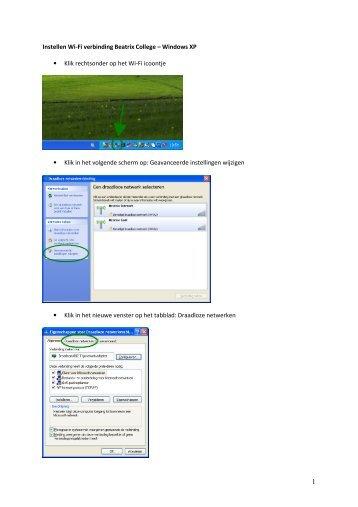 Instellen Wi-Fi verbinding Beatrix College – Windows XP • Klik ...