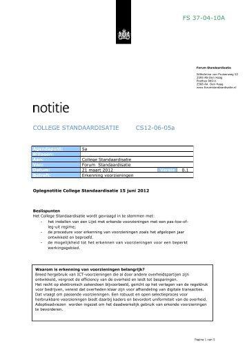 FS 37-04-10A COLLEGE STANDAARDISATIE CS12-06-05a - Logius