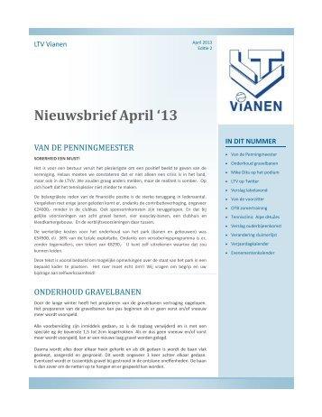 Nieuwsbrief April '13 - LTV Vianen