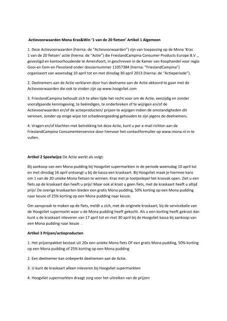 Actievoorwaarden Mona Kraswin 1 Van De 20 Fietsen Hoogvliet