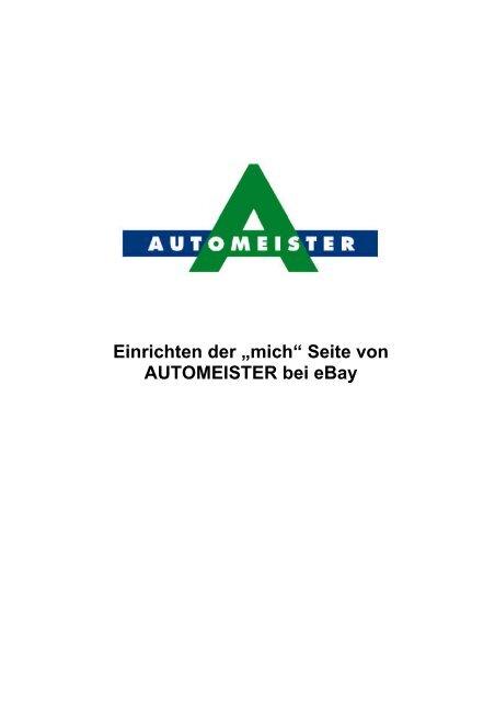 """Einrichten der """"mich"""" Seite  von AUTOMEISTER  bei eBay"""