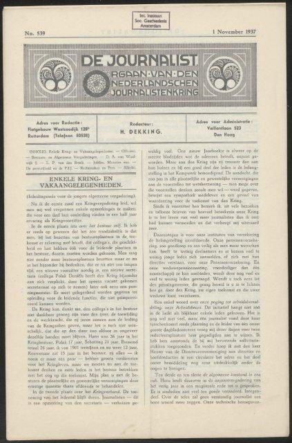 No. 539 1 November 1937 H. DEKKING. ENKELE KRING- EN ...