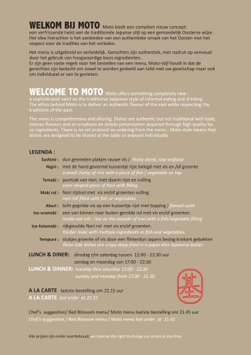 menukaart - Moto