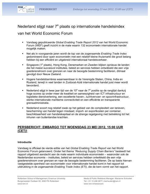 Nederland stijgt naar 7e plaats op internationale handelsindex van ...