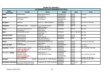 DIRECTIE HASSELT ZITDAGEN BELASTINGAANGIFTE 2013