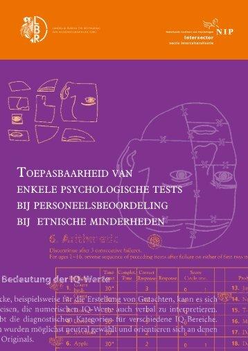 toepasbaarheid van enkele psychologische tests bij ... - Art.1