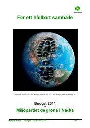 Miljöpartiet de Gröna i Nacka BUDGET FÖR 2010 - Nacka kommun