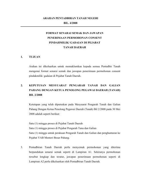 Arahan Pentadbiran Tanah Negeri Bil 4 2008 Format Pahang